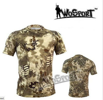 Men's Camo Short-Sleeve Hunting Sports Army Shirt Tight Tops Quick-Dry S-XXL