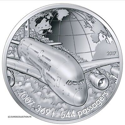 France 10 € Euro Silver Unc Proof 2017 Plane Flying With Airbus A380 2007/2017 !