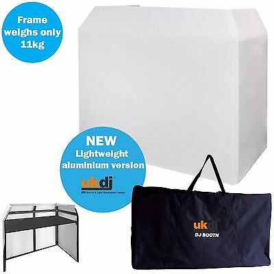 UKDJ Pro DJ Aluminium Booth Lightweight Stand Inc White Scrim Shelves Carry Bag