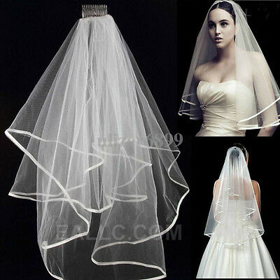 Ivory White 2T Wedding Bridal Veil Satin Edge With Comb Elbow Length Promotion