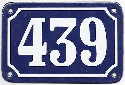 Old blue French house number 439 door gate plate plaque enamel metal sign steel