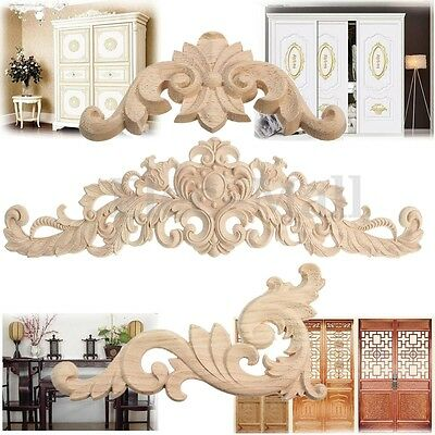 Unpainted Wood Carved Applique Frame Corner Onlay Furniture Craft Art Home Decor