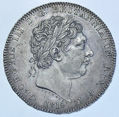 1819 Lix Crown British Silver Coin From George Iii Ef