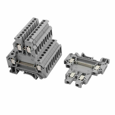 10Pcs UKK3 DIN Rail Mount Double-level Terminal Block 300V 25A 28-10AWG Gray