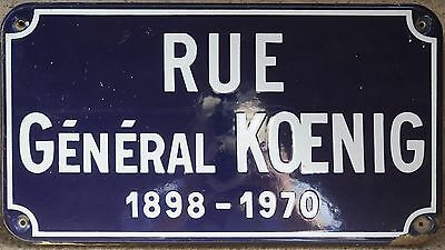 Old French enamel street sign road plaque name General Koenig war hero Chartres