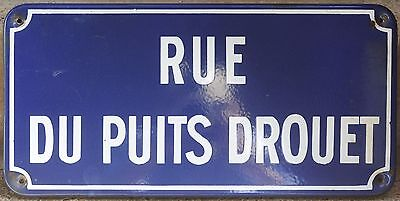 Old French enamel street sign road plaque rue du Puits Drouet district Chartres