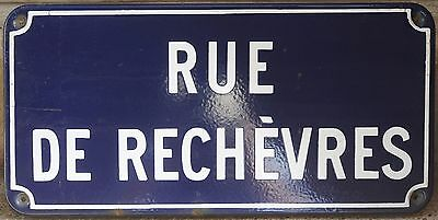 Old French enamel street sign road plaque rue de Rechevres district Chartres