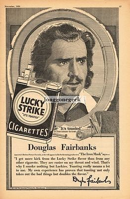 1928 Lucky Strike Cigarettes Douglas Fairbanks Vtg Print Ad