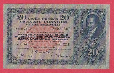 1947 Switzerland 20 Franken Note