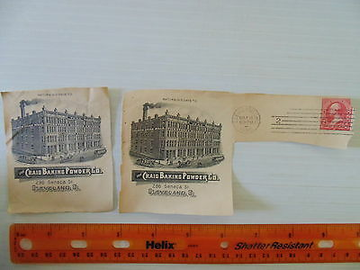 1895 Craig Baking Powder Co Cleveland 2 Partial Covers Showing Factory Rare