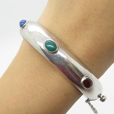Mexico Vtg 925 Sterling Silver Real Multicolor Gemstone Bangle Bracelet 7.5""