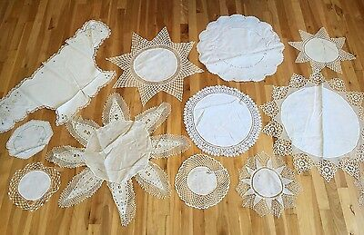 Vintage Crocheted & Hand Embroidered Linen Doilies Dresser Scarf - Lot of 11
