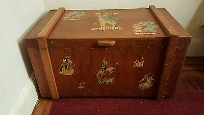 Huge Vintage Wooden Toy Chest With Bozo The Clown Graphics And More Look