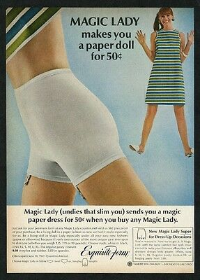 1967 Exquisite-Form lingerie Magic Lady white garter panty color photo print ad