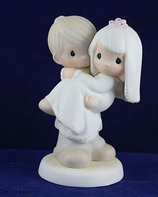 Precious Moments - Groom Carrying Bride Wedding Couple - Bless You Two E-9255