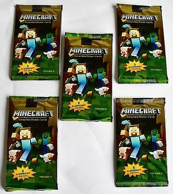 NEW 5 x Sealed Packs Minecraft Collectible Sticker Cards - NEW SEALED