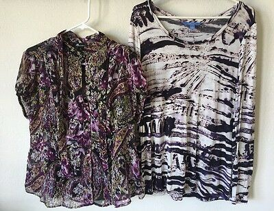 "AB Studio- Vera Wang~ Women's Casual Tops Size 40"" Bust~ L/XL~ Purple Lot Of Two"