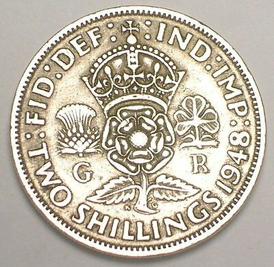 1948 UK Great Britain British Two 2 Shillings Crowned Rose Coin VF