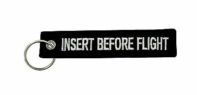 Insert after flight black keychain key ring tag luggage Remove before aviation