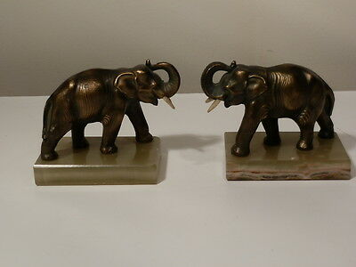 Pair Of Antique Metal Elephants On Alabaster Bases Take A Look Very Nice