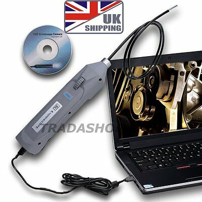 USB Inspection Camera Snake Endoscope 5.5mm Mini Borescope 6 LED 1M Tube Slim