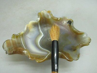 Chinese Agate Carved Inkwell / Brush Washer - Leaf Shape
