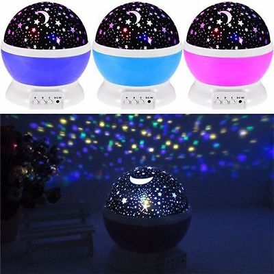 360 Rotation Night Star Moon Sky Starry Projector LED Light Lamp Kids Baby Bedro