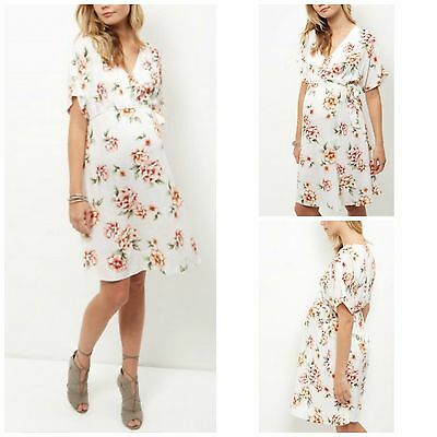 New Look Maternity Dress Shift Boho Cream Pink Green Floral Summer Size 8 - 20