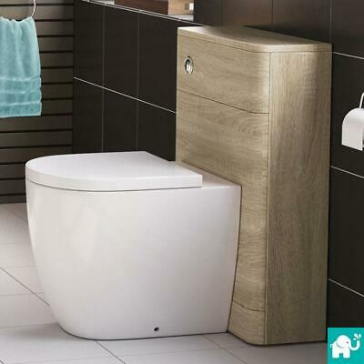 Oak Back to Wall Toilet Modern Compact Design Cistern Housing Unit Soft Close
