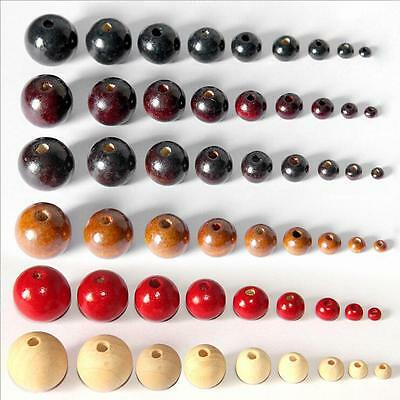 4/6/8/10mm Loose Wooden Beads Round Ball Jewelry Making Craft DIY Choose Colors