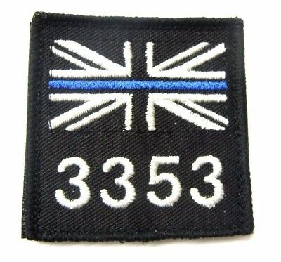 Thin Blue Line White Union Jack & Collar Number Badge / Patch