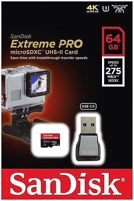 SanDisk Extreme Pro micro SD XC 64Go Class 10 UHS-II U3 275Mo/s with Card Reader