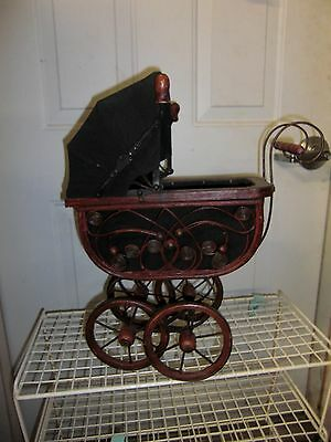 "Vintage Victorian Doll Buggy Carriage Pram Wicker/Metal 18.5"" High VGC"