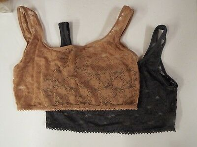Rhonda Shear Lace Overlay Cami 2-pack-Charcoal/Nude-XS-NEW