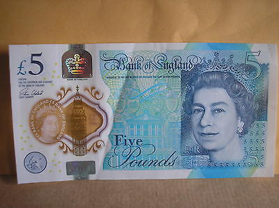 AA01 Genuine Bank Of England New Polymer £5 Note RARE LOW NUMBER
