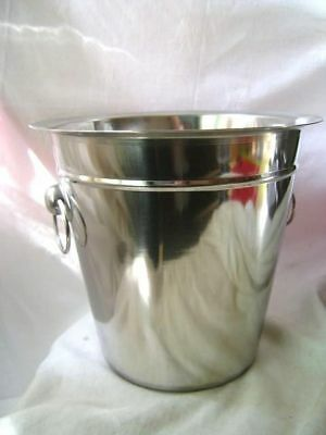 "New Stainless Steel Ice Champagne Wine Bucket With Handles Large 22Cm 9"" 17184C"