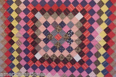 """Antique Mennonite Sunshine And Shadow Quilt Hand Quilted Hand Pieced 75"""" By 72"""""""