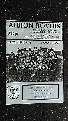 Albion Rovers Reserves V Ayr United Reserves 1991-92