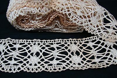 NEARLY 16 YARDS ANTIQUE EARLY 1900s HAND? MADE BOBBIN? LACE TRIM