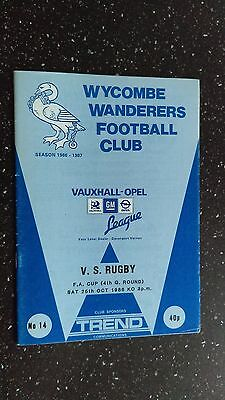 Wycombe Wanderers V Vs Rugby 1986-87