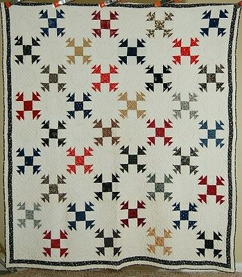 Vintage 1890's Shoofly Variation Antique Patchwork Quilt ~AMAZING QUILTING!