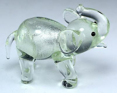"""Small Hand Blown Glass Clear Silver Elephant Figurine 2 3/8"""" High New!"""