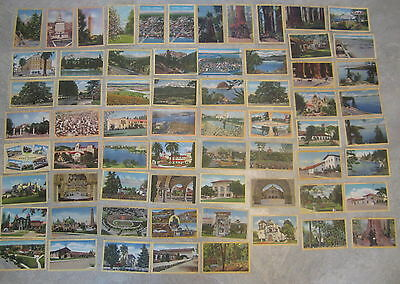 Lot of 64 Old Vintage 1940's - CALIFORNIA - Linen POSTCARDS - All DIFFERENT !