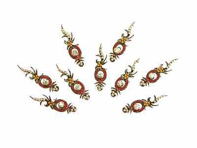 Styled Black Red Belly Dance Bindi Crystal Indian Body Stickers