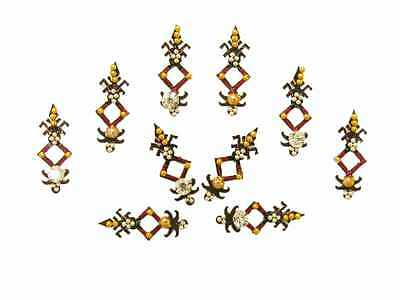 Tribal Black Red Bindi Belly Dance Crystal Indian Body Stickers