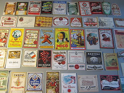 Lot of 45 Fancy 1930's-50s European WINE & LIQUOR LABELS - ALL Different
