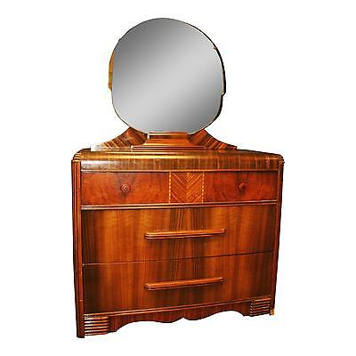 Art Deco WATERFALL DRESSER w Mirror chest of drawers vintage bakelite wood 1940s