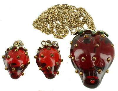 "Rare Vintage Giant 2.5""H MOD Red Lucite Strawberry Necklace & Clip Earrings 24"""