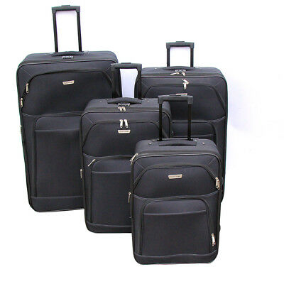 BN 4 Pieces Soft Case Black Travel Bags Luggage Set Suitcase