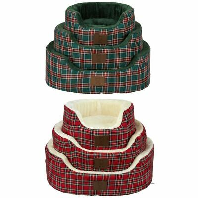 Bunty Heritage Tartan Soft Fur Fleece Dog Bed Washable Pet Basket Mat Cushion